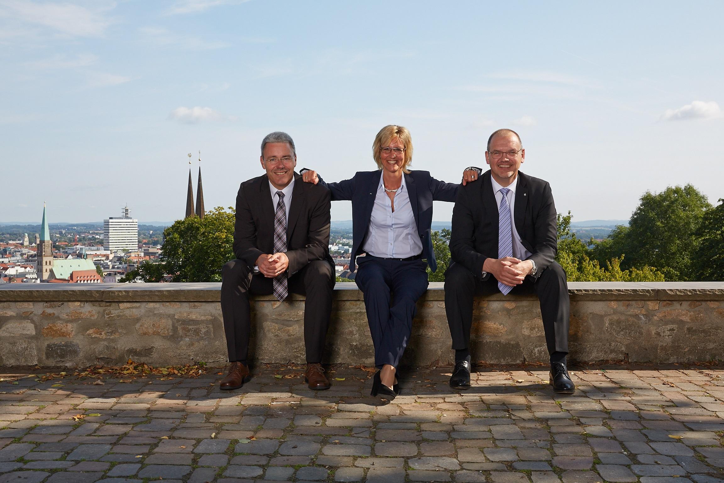 Die Geschäftsleitung von Beckmann & Partner CONSULT: Matthias Wieking, Birgit Schweneker, Hermann Vogel, von links nach rechts